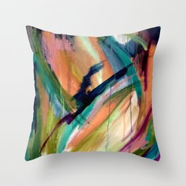 Brave: A colorful and energetic mixed media piece Throw Pillow