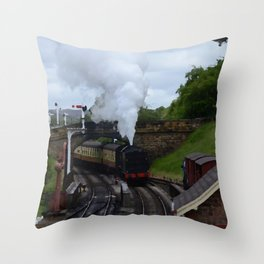 Steam Train In Yorkshire Throw Pillow