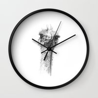 ostrich Wall Clocks featuring Ostrich by Signe