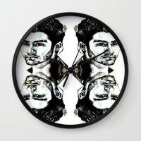 zayn malik Wall Clocks featuring Zayn Malik  by Clairenisbet