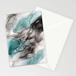 Smoky Grays and Green Abstract Flow Stationery Cards