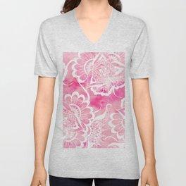 Modern boho pink watercolor white floral mandala  pattern Unisex V-Neck