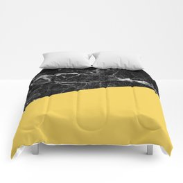 Black Marble and Primrose Yellow Color Comforters