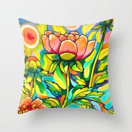 Peach & Pink Peonies Throw Pillow
