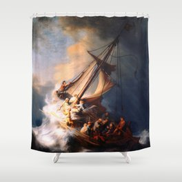 The Storm On The Sea Of Galilee Painting By Rembrandt Shower Curtain