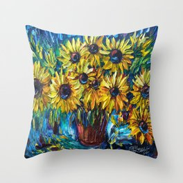 SUNFLOWERS in a Vase — Palette knife painting by OLena Art Throw Pillow