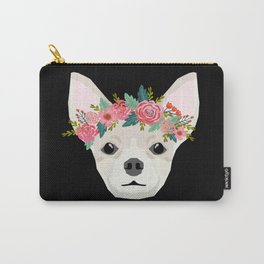 Chihuahua dog breed floral crown chihuahuas lover pure breed gifts Carry-All Pouch