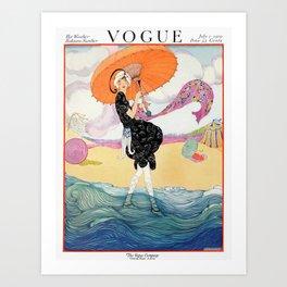Vintage Magazine Cover - Windy Beach Art Print