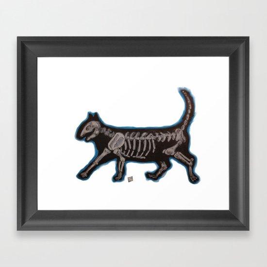Skeleton Cat Framed Art Print