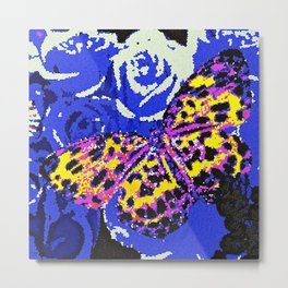 The Butterfly Affect #2 Blue Mosaic Metal Print