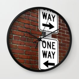 Street Sign One Way photography Wall Clock