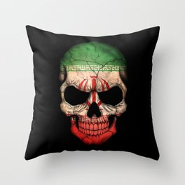 Dark Skull with Flag of Iran Throw Pillow