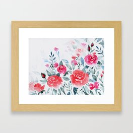 Red roses watercolor painting Framed Art Print