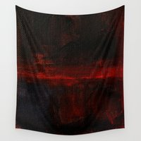 rothko Wall Tapestries featuring Mark Rothko Interpretation Red Blue Acrylics On Canvas by James Peart