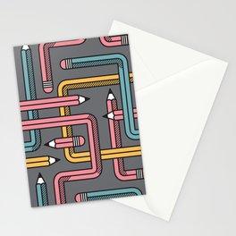 Pencil Maze Pattern pastel grey multi Stationery Cards