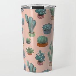 Potted Cacti and Succulents on Sahara Rose background. Travel Mug
