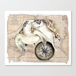 Sea Turtles Compass Map Canvas Print