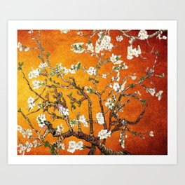 Vincent van Gogh Blossoming Almond Tree (Almond Blossoms) Orange Sky Art Print