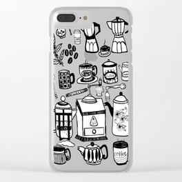 Coffee Doodles Clear iPhone Case