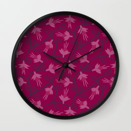 Pink Fuchsias in Bloom Wall Clock