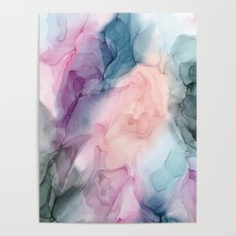 Dark and Pastel Ethereal- Original Fluid Art Painting Poster