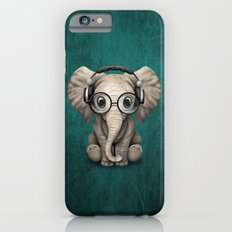 Cute Baby Elephant Dj Wearing Headphones and Glasses on Blue iPhone 6 Slim Case