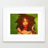 erykah badu Framed Art Prints featuring Erykah Badu  by Paintings That Pop