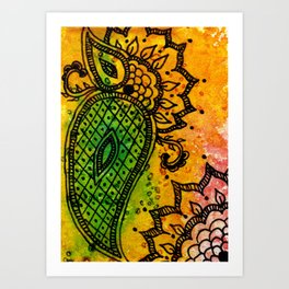 Henna Fantasia Paisley Art Print