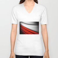 poland V-neck T-shirts featuring flag of Poland by Lulla