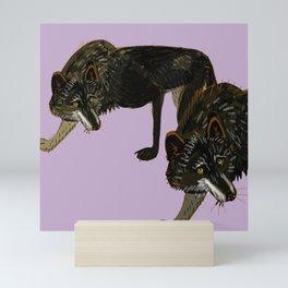 Totem black Buffalo wolf (nubilus) lavender Mini Art Print