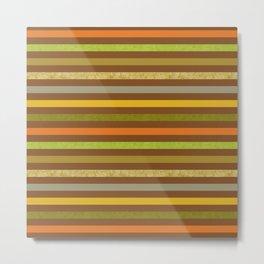 Fall Colors Stripes Craft Paper Texture Metal Print