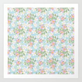 Pink Dogroses on Sky Blue Art Print