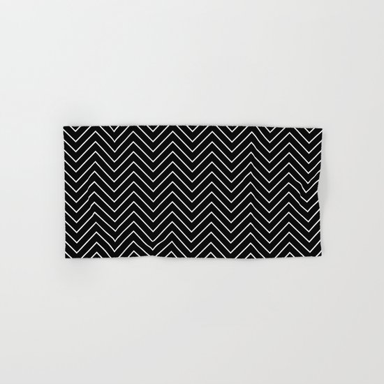 Black And White Chevron Zigzag Pattern Hand Bath Towel By Stilleskyggerart Society6