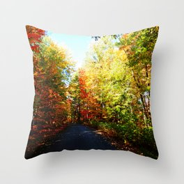 Into the Fall Forest Throw Pillow