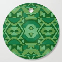 Geometric Aztec in Forest Green Cutting Board