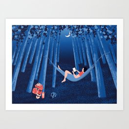 Reading alone in the woods at night Art Print
