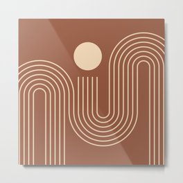 Geometric Lines in Terracotta and Beige 40 (Sunrise over the ocean) Metal Print
