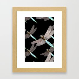 Dragonfly Air Force on Black Framed Art Print