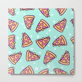 Pizza Magic // Green Metal Print