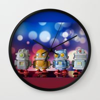 robots Wall Clocks featuring Robots by Pedro Nogueira
