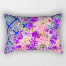 Assorted  Floral Garden  Blue Trellis Design Pattern Rectangular Pillow