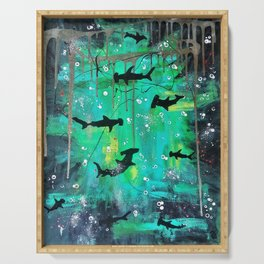 Teal hammerheads Serving Tray