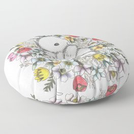 Bunny in the midst of Flowers Floor Pillow
