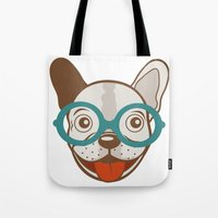 frenchie Tote Bags featuring Frenchie by olillia