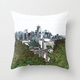 Seattle skyline edges (light, green) Throw Pillow
