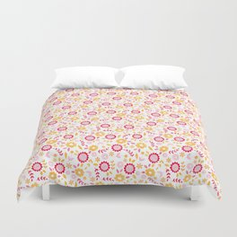 Autumn Floral - yellow, red, white Duvet Cover