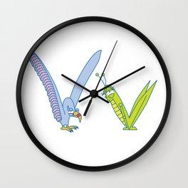 V Uppercase/Lowercase Pair, no border Wall Clock