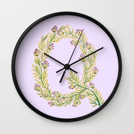 Leafy Letter Q Wall Clock