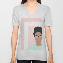 Chanelle wears glasses Unisex V-Neck