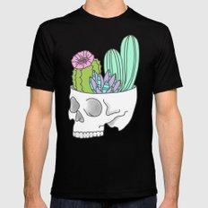 Succulent cactus garden flower pastel skull Mens Fitted Tee Black MEDIUM
